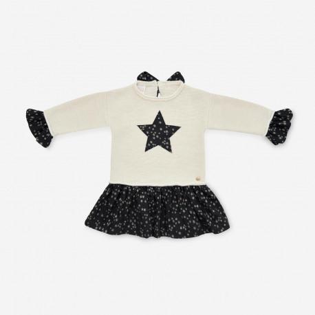 PAZ RODRIGUEZ vestido crema con estrellas