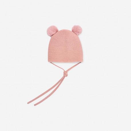 PAZ RODRIGUEZ gorro con pompones en rosa palo