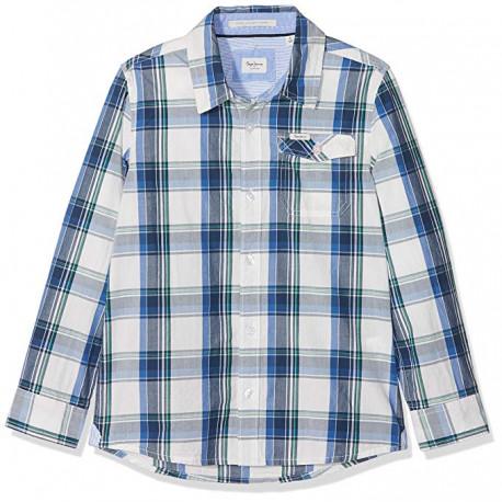 PEPE JEANS camisa NOLAN JR AZUL azul con verde
