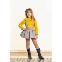 ALHUKA conjunto falda con blusa en gris con mostaza DIAMANTE
