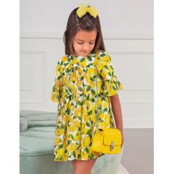 ABEL Y LULA vestido de gasa estampado limones