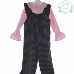 MARTA Y PAULA conjunto de blusa y mono de la colección CIRCO en gris con rosa