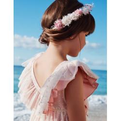 ABEL Y LULA corona de flores en rosa maquillaje