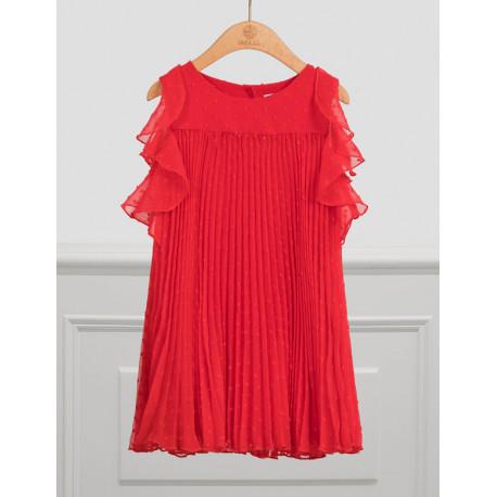 ABEL Y LULA vestido gasa plumeti plisado rojo