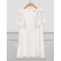 ABEL Y LULA vestido bordado perforado en blanco roto