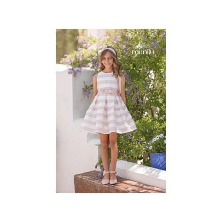 MAGNÍFICA LULÚ vestido de rayas rosa empolvado